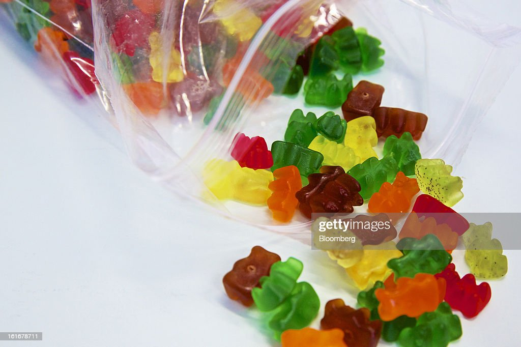 A sample of Gummy bear sweets are ahead seen ahead of testing at Givaudan SA's flavor research laboratory inside the company's headquarters in Dubendorf, Switzerland, on Wednesday, Feb. 13, 2013. Givaudan SA, the world's largest maker of flavorings and fragrances, announced a bigger-than-estimated dividend after riding out a year of high raw-material prices and a strong Swiss franc. Photographer: Gianluca Colla/Bloomberg via Getty Images