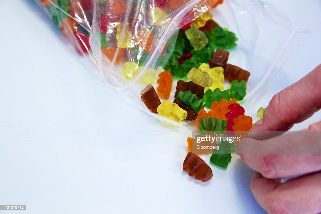 A sample of Gummy bear sweets are seen ahead of testing at Givaudan SA's flavor research laboratory inside the company's headquarters in Dubendorf, Switzerland, on Wednesday, Feb. 13, 2013. Givaudan SA, the world's largest maker of flavorings and fragrances, announced a bigger-than-estimated dividend after riding out a year of high raw-material prices and a strong Swiss franc. Photographer: Gianluca Colla/Bloomberg via Getty Images