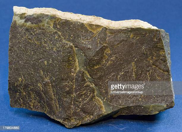 Sample of portsoy marble or portsoy serpentine from Portsoy Banffshire Moray Scotland United Kingdom