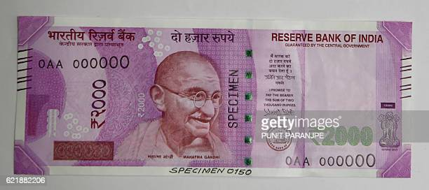 A sample of the new 2000 INR note is displayed at the Reserve Bank of India headquarters in Mumbai on November 9 2016 India's government tried to...
