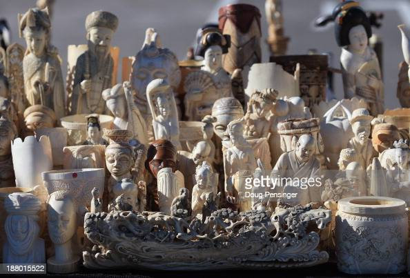 A sample of the six tons of ivory confiscated by the US Fish and Wildfire Service is on display during the US Ivory Crush event at the Rocky Mountain...
