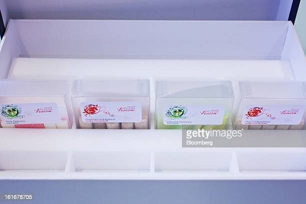 Sample packs of chewing gum in the FlavourVision range sit in a display case at Givauadan SA's headquarters in Dubendorf Switzerland on Wednesday Feb...