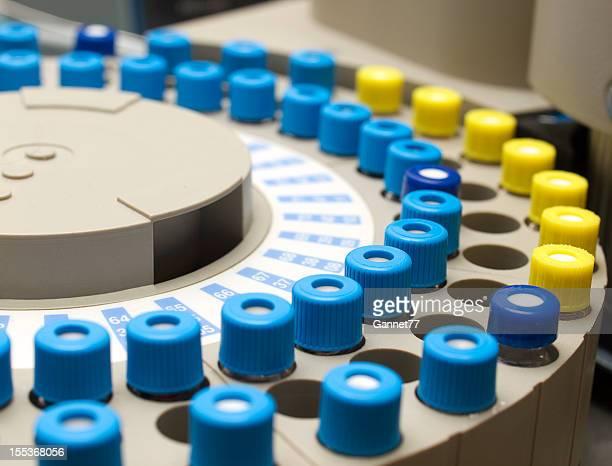 Sample Phials on a Gas Chromatograph Autosampler