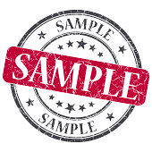 Sample red grunge round stamp on white background