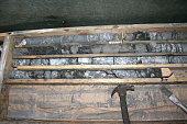 Samples in the core box. The selection of rock for analysis.