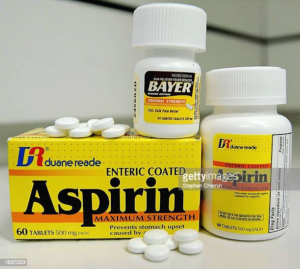 Samples of aspirin sit on a shelf March 6 2003 in New York City A new study shows that taking one aspirin tablet daily may reduce the risk of colon...