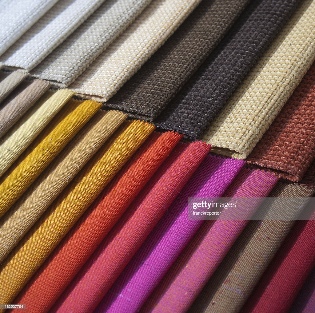 Samples of colored cloth : Stockfoto