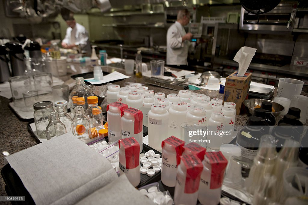 Samples of corn syrup sit on a counter ahead of a taste panel evaluation at the ADM Culinary Center test kitchen in Decatur Illinois US on Tuesday...