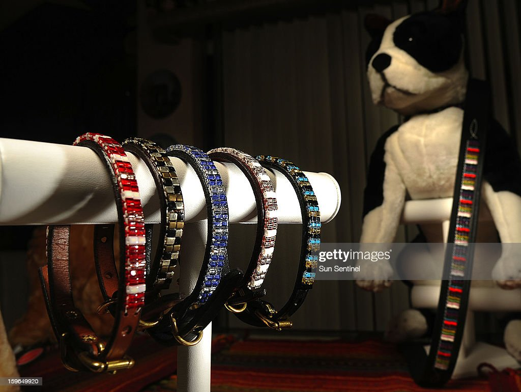 Samples of hand-made pet fashion accessories by Mona Straub, founder of Just Fur Fun pet accessories in Boca Raton, Florida.