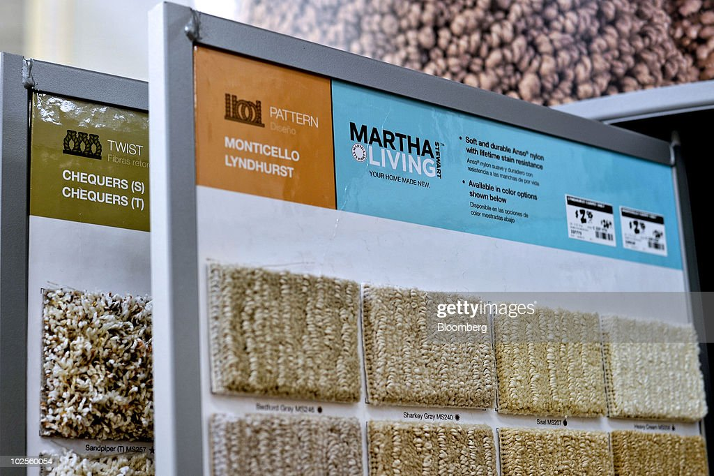 samples of martha stewart living carpet sit on display in a home depot store in atlanta
