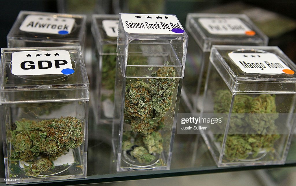 Samples of medicinal marijuana are displayed at the Berkeley Patients Group March 25, 2010 in Berkeley, California. California Secretary of State Debra Bowen certified a ballot initiative late yesterday to legalize the possession and sale of marijuana in the State of California after proponents of the measure submitted over 690,000 signatures. The measure will appear on the November 2 general election ballot.