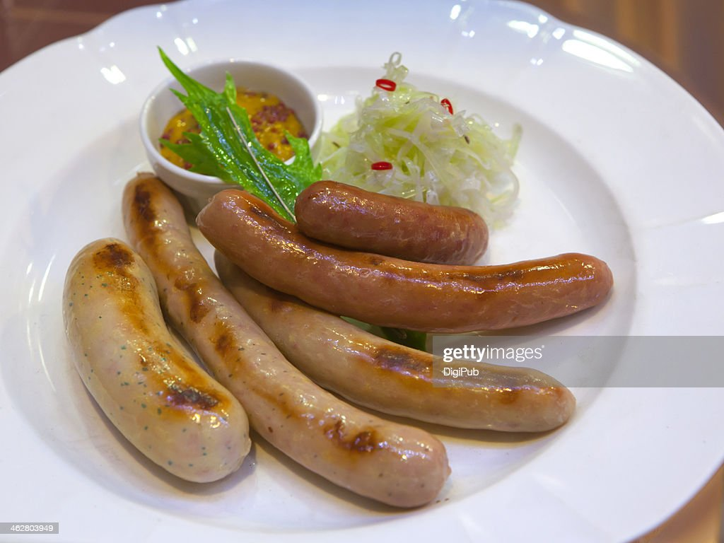 Samples of sausage : Stock Photo