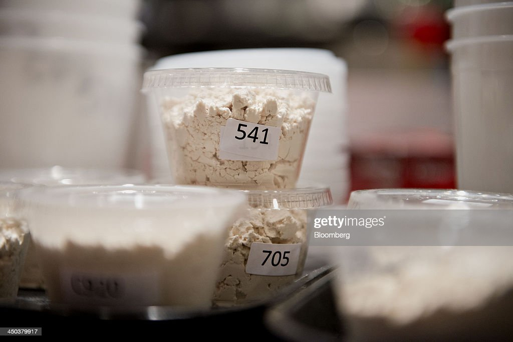 Samples of soybean protein isolates sit on a counter ahead of a taste panel evaluation at the ADM Culinary Center test kitchen in Decatur, Illinois, U.S., on Tuesday, Nov. 12, 2013. Archer-Daniels-Midland Co. procures, transports, stores, processes, and merchandises agricultural commodities and products as well as processes oilseeds, corn, milo, oats, barley, peanuts, and wheat. Photographer: Daniel Acker/Bloomberg via Getty Images