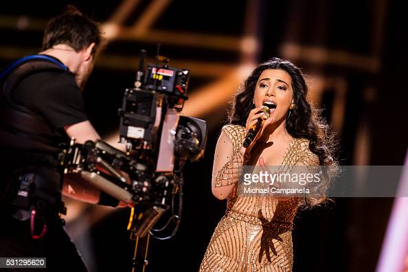 Samra representing Azerbaijan performs the song 'Miracle' during the final dress rehearsal of the 2016 Eurovision Song Contest at Ericsson Globe...