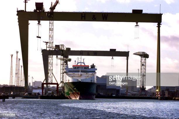 Samson and Goliath Harland and Wolff's famous cranes stand above at the Anvil Point the last ship to be built at the Belfast shipyard January 17 2003...