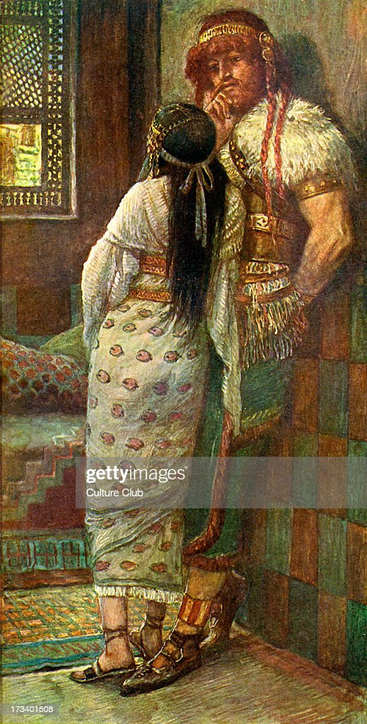 <a gi-track='captionPersonalityLinkClicked' href=/galleries/search?phrase=Samson&family=editorial&specificpeople=79382 ng-click='$event.stopPropagation()'>Samson</a> and his wife by J James Tissot. Illustration to Book of Judges, 14.16 : 'And <a gi-track='captionPersonalityLinkClicked' href=/galleries/search?phrase=Samson&family=editorial&specificpeople=79382 ng-click='$event.stopPropagation()'>Samson</a>'s wife wept before him and said Thou dost but hate me, and lovest me not: thou hast put forth a riddle unto the children of my people , and hast not told it me'.