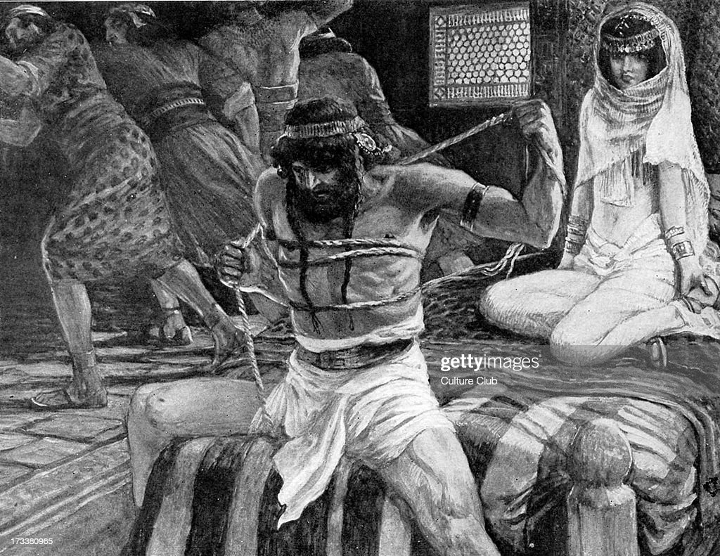 <a gi-track='captionPersonalityLinkClicked' href=/galleries/search?phrase=Samson&family=editorial&specificpeople=79382 ng-click='$event.stopPropagation()'>Samson</a> breaks his cords by J James Tissot. Illustration to the Book of Judges 16.9 : 'Now there were men lying in wait, abiding with her in the chamber. And she said unto him, The Philistines be upon thee, <a gi-track='captionPersonalityLinkClicked' href=/galleries/search?phrase=Samson&family=editorial&specificpeople=79382 ng-click='$event.stopPropagation()'>Samson</a>'.JT: French painter, 15 October 1836 – 8 August 1902