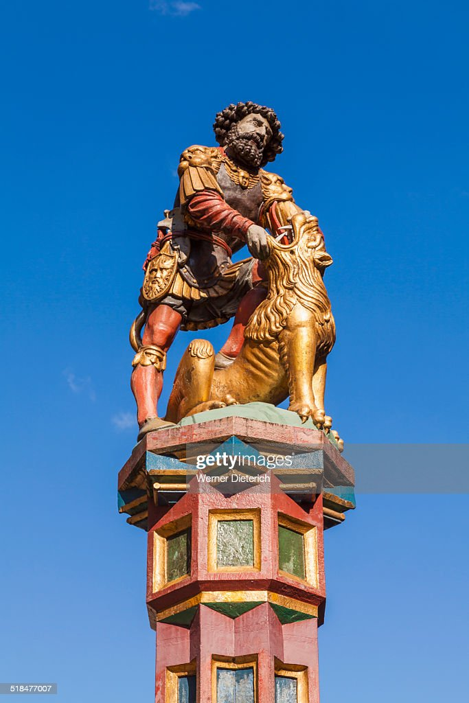 Samson fountain on the Kramgasse, Old City of Bern