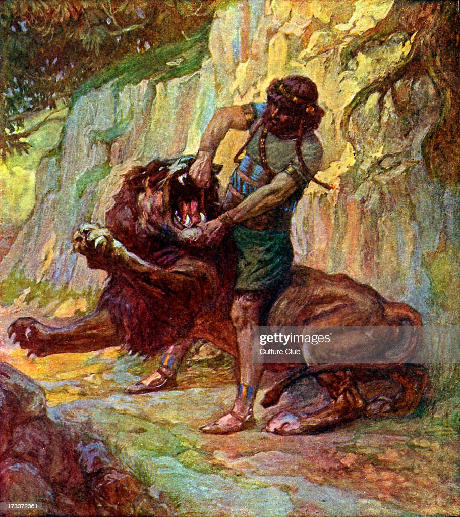 <a gi-track='captionPersonalityLinkClicked' href=/galleries/search?phrase=Samson&family=editorial&specificpeople=79382 ng-click='$event.stopPropagation()'>Samson</a> kills a lion by J James Tissot. Illustration to Book of Judges, 14.5: 'Then went <a gi-track='captionPersonalityLinkClicked' href=/galleries/search?phrase=Samson&family=editorial&specificpeople=79382 ng-click='$event.stopPropagation()'>Samson</a> down, and his father and his mother, to Timnath, and came to the vineyard of Timnath: and behold a young lion roared against him.'JT: French painter, 15 October 1836 – 8 August 1902