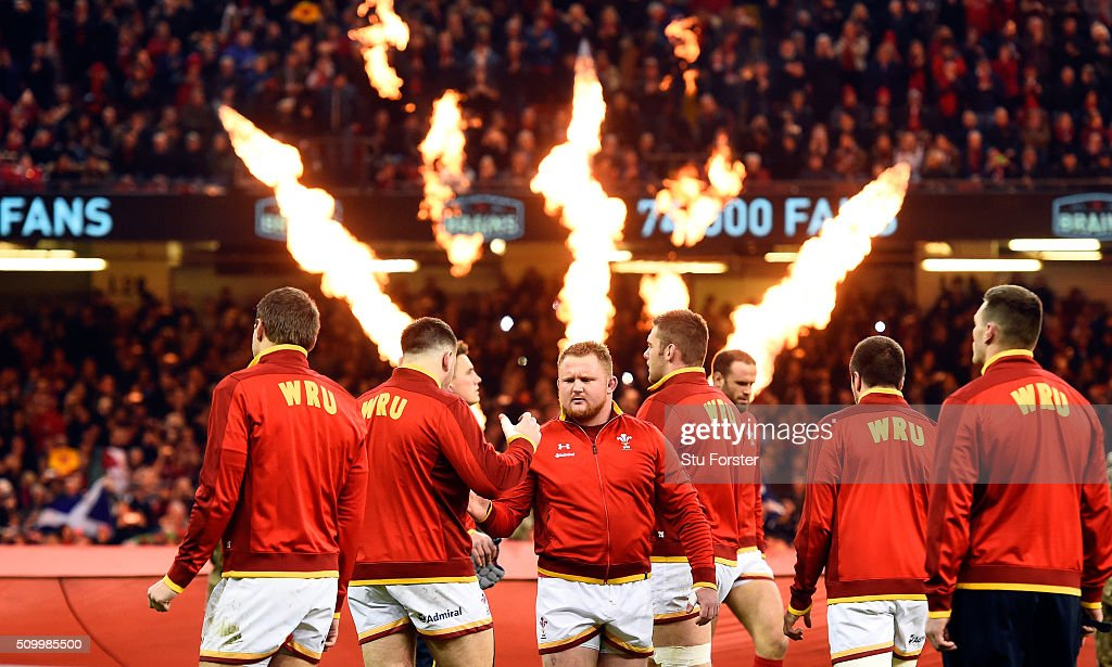 Samson Lee (c) and his Wales team mates enter the field before the RBS Six Nations match between Wales and Scotland at Principality Stadium on February 13, 2016 in Cardiff, Wales.