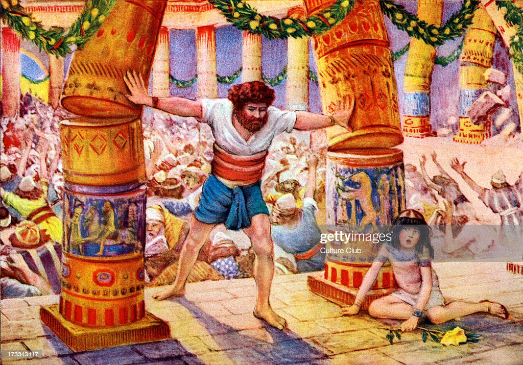 '<a gi-track='captionPersonalityLinkClicked' href=/galleries/search?phrase=Samson&family=editorial&specificpeople=79382 ng-click='$event.stopPropagation()'>Samson</a> puts down the pillars' - after illustration by J James Tissot. <a gi-track='captionPersonalityLinkClicked' href=/galleries/search?phrase=Samson&family=editorial&specificpeople=79382 ng-click='$event.stopPropagation()'>Samson</a> pushes over the pillars at the Philistine temple at a sacrificial ceremony to the deity Dagon. Illustration to the Book of Judges 16.29 : 'And <a gi-track='captionPersonalityLinkClicked' href=/galleries/search?phrase=Samson&family=editorial&specificpeople=79382 ng-click='$event.stopPropagation()'>Samson</a> took hold of the two middle pillars upon which the house stood, and on which it was borne up, of the one with his right hand, and of the other with his left.'JJT: French painter, 15 October 1836 – 8 August 1902