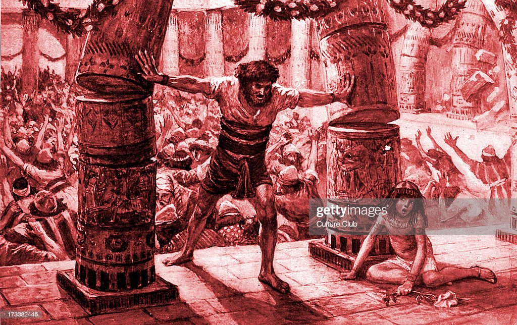 '<a gi-track='captionPersonalityLinkClicked' href=/galleries/search?phrase=Samson&family=editorial&specificpeople=79382 ng-click='$event.stopPropagation()'>Samson</a> puts down the pillars' by J James Tissot. <a gi-track='captionPersonalityLinkClicked' href=/galleries/search?phrase=Samson&family=editorial&specificpeople=79382 ng-click='$event.stopPropagation()'>Samson</a> pushes over the pillars at the Philistine temple at a sacrificial ceremony to the deity Dagon. Illustration to the Book of Judges 16.29 : 'And <a gi-track='captionPersonalityLinkClicked' href=/galleries/search?phrase=Samson&family=editorial&specificpeople=79382 ng-click='$event.stopPropagation()'>Samson</a> took hold of the two middle pillars upon which the house stood, and on which it was borne up, of the one with his right hand, and of the other with his left.'JT: French painter, 15 October 1836 – 8 August 1902