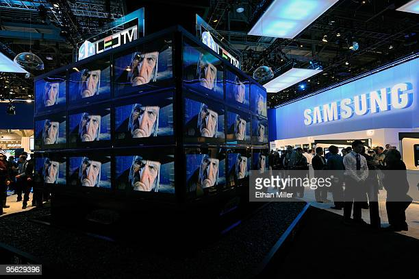 Samsung 3D televisions are displayed at the 2010 International Consumer Electronics Show at the Las Vegas Convention Center January 7 2010 in Las...