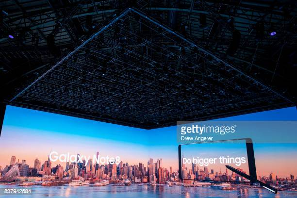 Samsung branding is projected on a screen during a launch event for the new Samsung Galaxy Note8 smartphone August 23 2017 in New York City The...