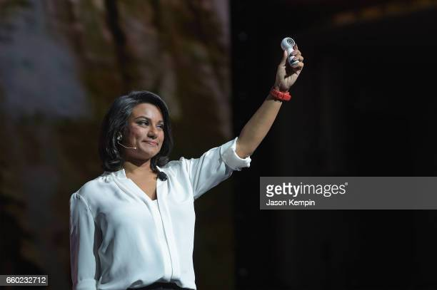 Samsung Director of Product Marketing Suzanne De Silva unveils the Samsung Gear 360 Camera during Samsung Unpacked at David Geffen Hall on March 29...
