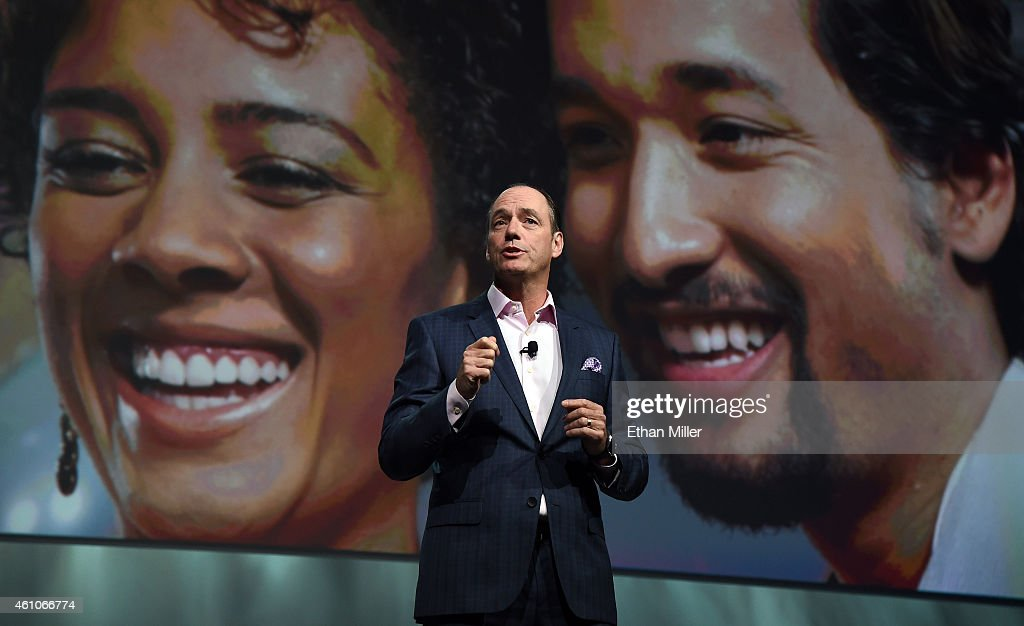 Samsung Electronics America Executive President and Chief Operating Officer Tim Baxter speaks during a press event for Samsung at the Mandalay Bay...