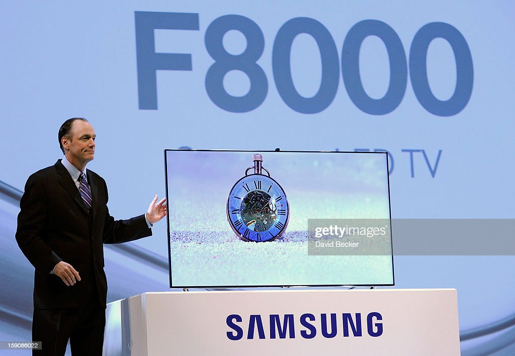 Samsung Electronics America President Tim Baxter unveils Samsung's F8000 HDTV at a press event at the Mandalay Bay Convention Center for the 2013 International CES on January 7, 2013 in Las Vegas, Nevada. CES, the world's largest annual consumer technology trade show, runs from January 8-11 and is expected to feature 3,100 exhibitors showing off their latest products and services to about 150,000 attendees.