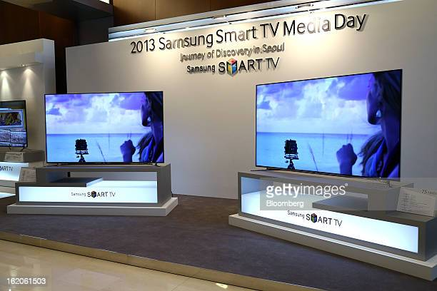 Samsung Electronics Co F8000 series smart televisions are displayed at a media event in Seoul South Korea on Tuesday Feb 19 2013 Samsung Electronics...
