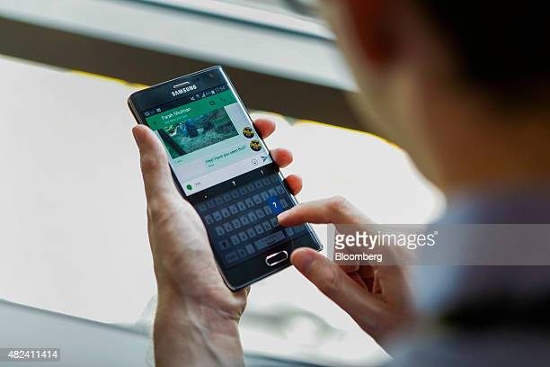A Samsung Electronics Co Galaxy Note Edge smartphone running the Android mobile operating system displays the Google Inc Hangouts app in this...