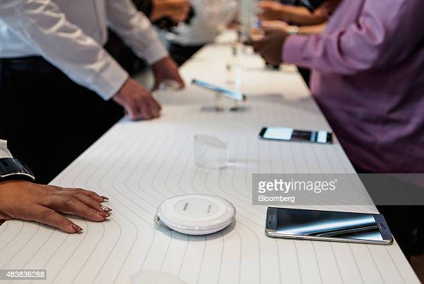 Samsung Electronics Co Galaxy S6 Edge Plus smartphones are displayed during the Samsung Unpacked 2015 event in New York US on Thursday Aug 13 2015...