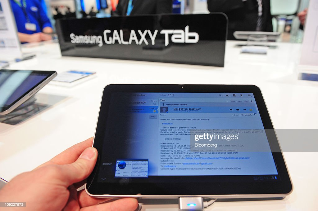A Samsung Electronics Co. Galaxy Tab tablet device is seen on display at the Mobile World Congress in Barcelona, Spain, on Thursday, Feb. 17, 2011. The Mobile World Congress takes place at Fira de Barcelona conference center Feb. 14-17. Photographer: Denis Doyle/Bloomberg via Getty Images
