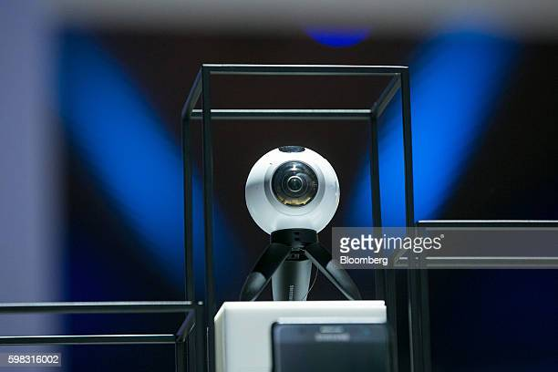A Samsung Electronics Co Gear 360 VR camera sits on display on the Samsung Electronics Co exhibition stand during the IFA International Consumer...