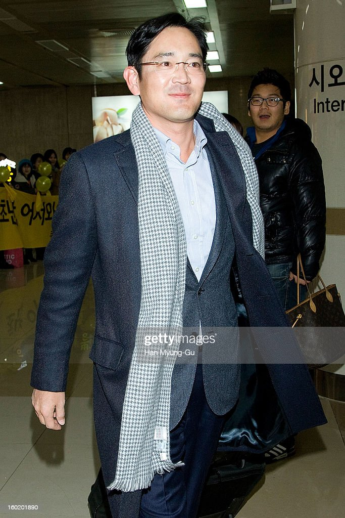 Samsung Electronics Co. vice chairman, Lee Jae-Yong is seen at Gimpo International Airport on January 27, 2013 in Seoul, South Korea.