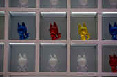 Samsung Galaxy Kidrobot devices sit on display at the Samsung Electronics Co pavilion on the opening day of the Mobile World Congress in Barcelona...