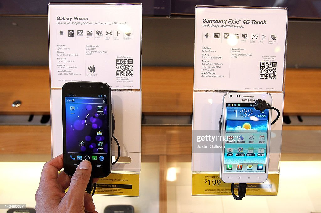 A Samsung Galaxy Nexus phone (L) is seen on display at a Sprint store on April 27, 2012 in San Francisco, California. Samsung Electronics reported a record $5.15 billion quarterly profit and estimates that their Galaxy smartphones, will continue to be a hot seller and boost earnings in the current quarter.
