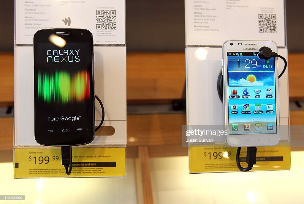 A Samsung Galaxy Nexus phones (L) is seen on display at a Sprint store on April 27, 2012 in San Francisco, California. Samsung Electronics reported a record $5.15 billion quarterly profit and estimates that their Galaxy smartphones, will continue to be a hot seller and boost earnings in the current quarter.