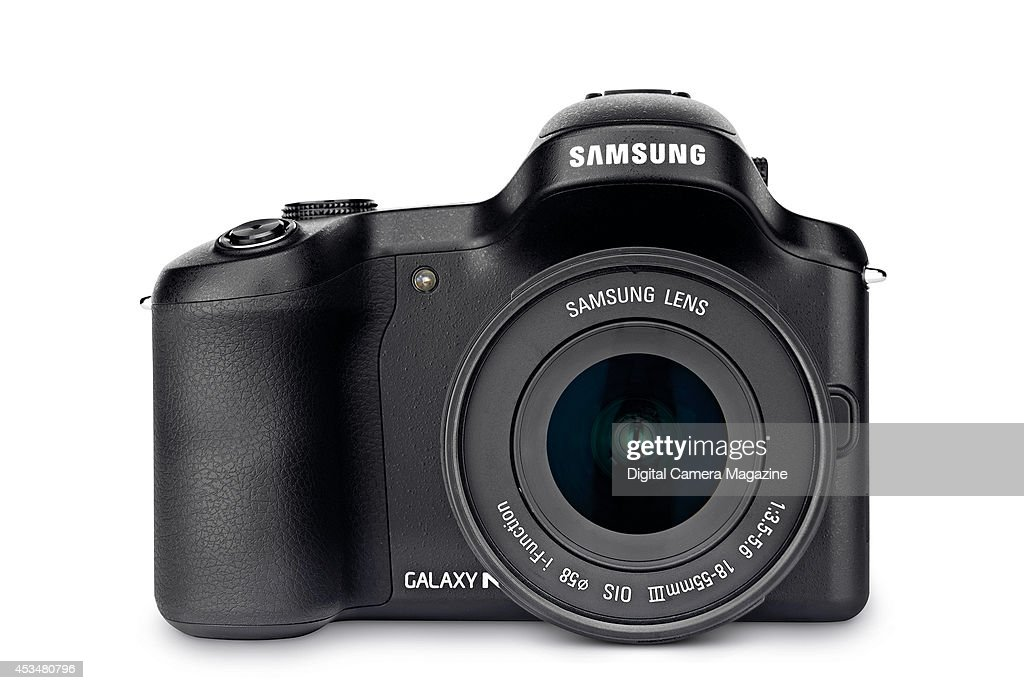 A Samsung Galaxy NX DSLR photographed on a white background, taken on September 25, 2013.