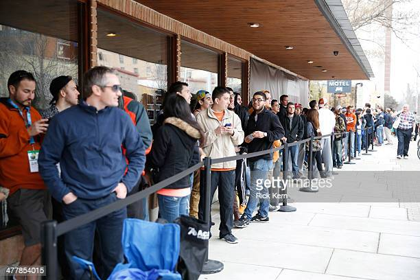 Samsung Galaxy owners line up to get tickets for a special concert on day 4 of The Samsung Galaxy Experience at SXSW 2014 on March 11 2014 in Austin...