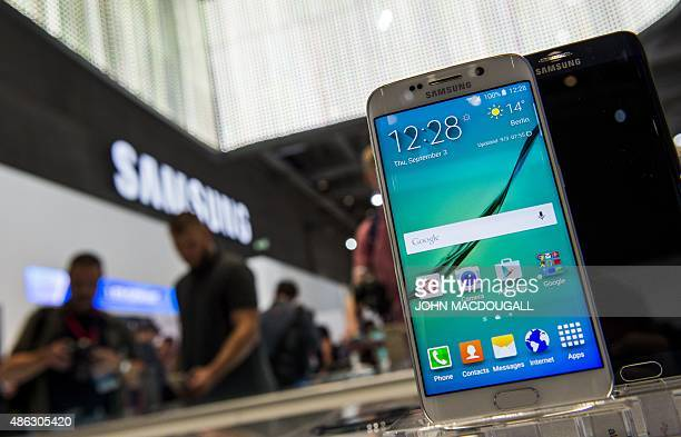 A Samsung Galaxy S6 edge smartphone is on display at the booth of South Korean electronics giant Samsung ahead of the opening of the 55th IFA...