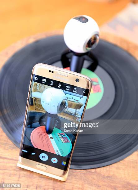 Samsung Galaxy S7 edge and Samsung Gear 360 are seen in the Samsung Creator's Hub at Austin City Limits Music Festival 2016 at Zilker Park on October...