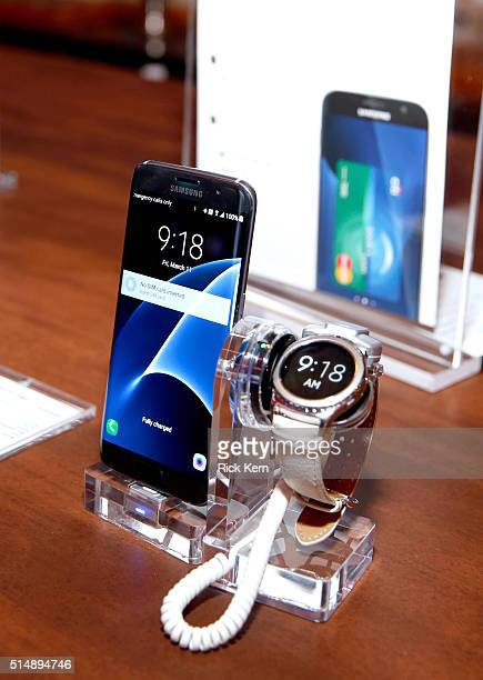 Samsung Galaxy S7 edge and Samsung Gear S2 Classic on display at The Samsung Studio at SXSW 2016 on March 11 2016 in Austin Texas