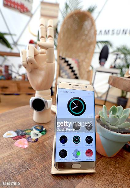 Samsung Galaxy S7 edge is seen in the Samsung Creator's Hub at Austin City Limits Music Festival 2016 at Zilker Park on October 1 2016 in Austin Texas