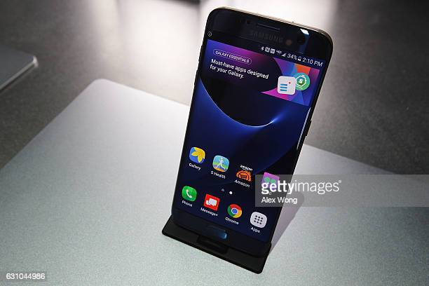 Samsung Galaxy S7 edge smartphone is on display at the Samsung booth during CES 2017 at the Las Vegas Convention Center on January 5 2017 in Las...