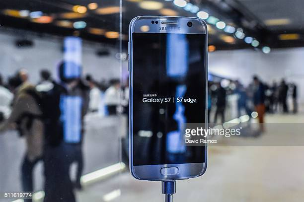 Samsung Galaxy S7 is seen during its worldwide unveiling on February 21 2016 in Barcelona Spain The annual Mobile World Congress will start tomorrow...