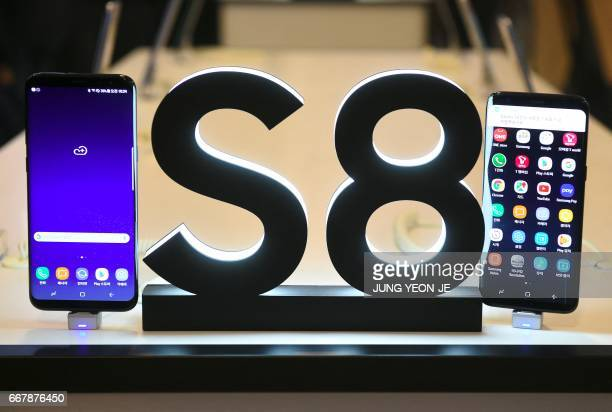 Samsung Galaxy S8 smartphones are seen during a showcase to mark the domestic launch of Samsung Electronics' latest flagship smartphone Galaxy S8 in...