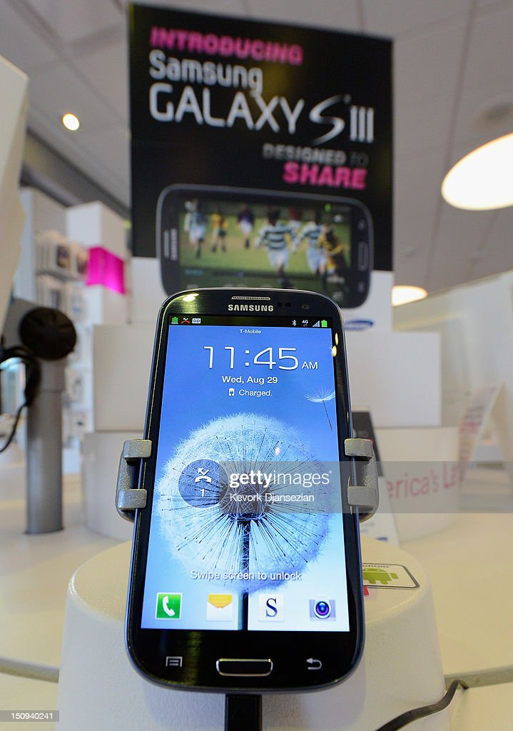 Samsung Galaxy SIII Android mobile phone is displayed at a store on August 29, 2012 in Glendale, California. Value of Samsung Galaxy Android mobile phones are declining rapidly after the $1.05 billion verdict which found Samsung infringed on six Apple patents. Customers of Samsung have been dumping their Android products at major resale sites.